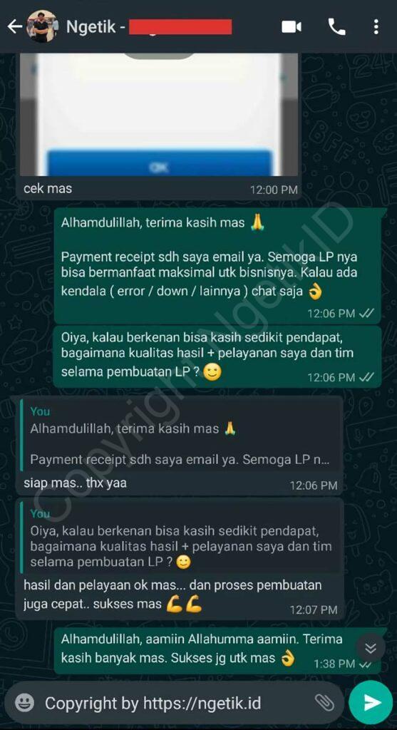 Testi jasa buat landing page Teguh Suwito